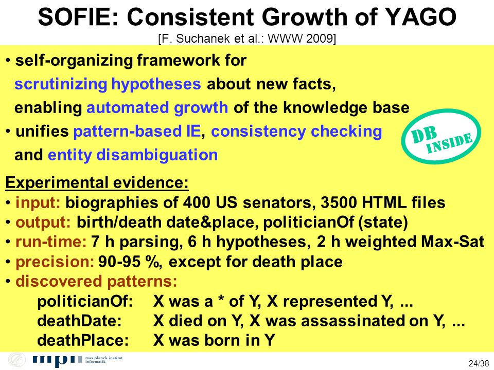 SOFIE: Consistent Growth of YAGO [F. Suchanek et al.: WWW 2009]